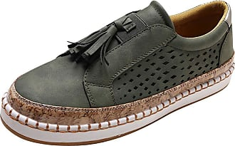 Daytwork Women Round Toe Sneakers Loafer Flats Shoes - Ladies Slip On Trainers Casual Comfort Faux Leather Bass Boat Suede Low Top Moccasins Green