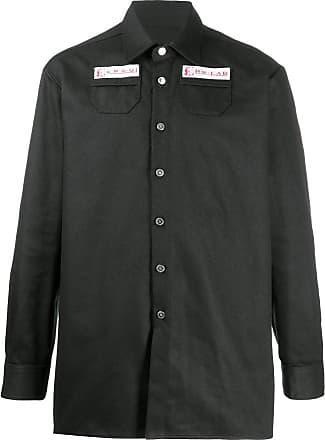 Raf Simons Camisa oversized com detalhe de patch - Preto