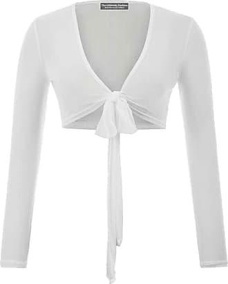 The Celebrity Fashion Womens Long Sleeve Bandage Wrap Crop Top Mesh Shrug Transparent Shirt Blouse Top White