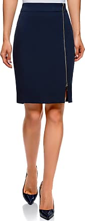 oodji Collection Womens Zipper Pencil Skirt, Blue, UK 10 / EU 40 / M