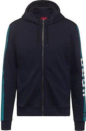 HUGO BOSS Kapuzen-Sweatjacke aus Interlock-Jersey mit Kontrast-Streifen an der Seite