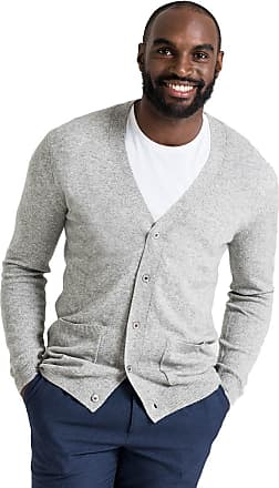 WoolOvers Mens Cashmere and Merino V Neck Knitted Cardigan Flannel, M