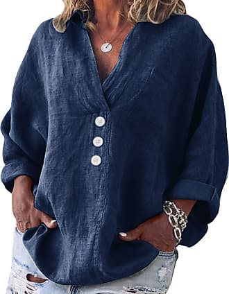 Yidarton Womens Long Sleeve Linen Tops Casual V-Neck Cotton Blouse Loose Plus Size Tunic Shirts (Navy, 4XL=(UK 20-22))