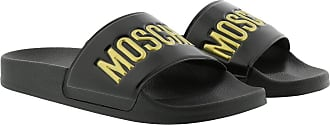 Moschino Loafers & Slippers - Logo Slides Black Gold - black - Loafers & Slippers for ladies