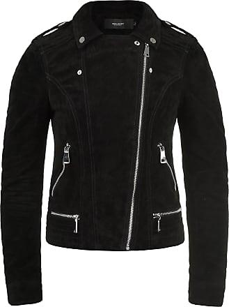 Vero Moda Leda Womens Leather Jacket Biker Jacket Real Leather with Biker Collar, Size:L, Colour:Black