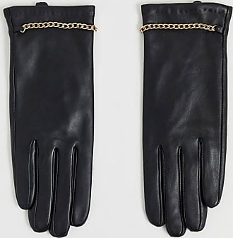 Barneys real leather gloves with chain detailing-Black