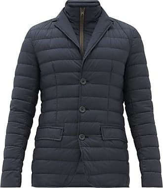 Herno Single-breasted Down-quilted Jacket - Mens - Navy