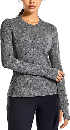 CRZ YOGA Womens Long Sleeve Running Shirt Athletic Workout Top with Thumb Holes Heather Grey 10