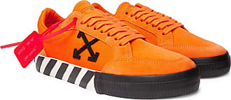 Off-white Suede And Canvas Sneakers - Orange
