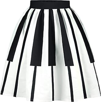 Ocean Plus Womens A Line Pleated Skirt Retro High Waist Mini Skater Skirt Knee Length Leisure Red White Dots Swing Skirt (XL (Waist: 31-39 inches), Piano)