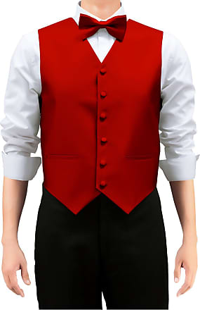 Retreez Mens Solid Color Woven Mens Suit Waistcoat, Dress Waistcoat Set with Matching Tie and Pre-Tied Bow Tie, 3 Pieces Gift Set as a, Birthday Gift - Red, M