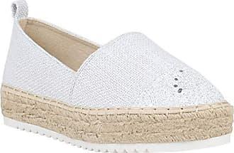 Damen Espadrilles Metallic Slipper Bast Profilsohle Flats