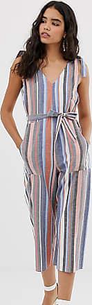Miss Selfridge linen jumpsuit with tie shoulders in stripe-Multi