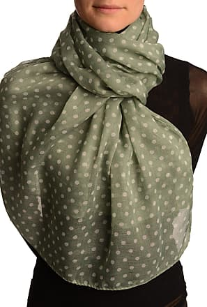 Liss Kiss White Polka Dot On Moss Green Unisex Scarf - Green Spotty Scarf