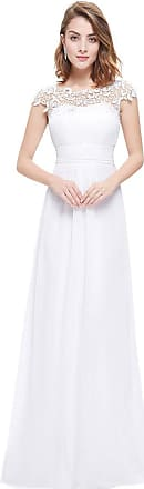Ever-pretty Womens Cap Sleeve Lace Neckline Ruched Bust Ball Gowns Homecoming Dresses White 18 UK
