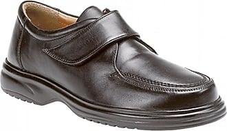 Roamers Mens Black Leather E Fitting Touch Fastening Apron Leisure Shoe - Black - size UK Mens Size 14