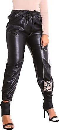 Islander Fashions Ladies Faux Leather High Waist Joggers Bottoms Womens Shiny PU Fashion Pants Black UK 16