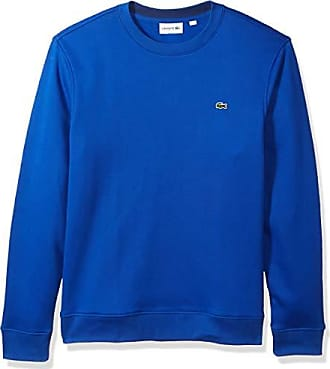 Lacoste Mens Fleece Sweatshirt with Green Croc-Contrast Details, Steamer/Methylene XX-Large