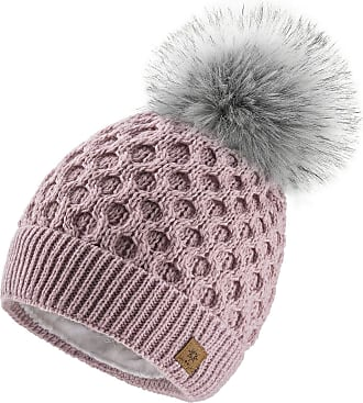 4sold Ladies Chunky Soft Cable Knit Handmade Woman Hat Cosy Fleece Liner and Bobble Faux Fur Pom pom (LORA Rouse Pink)