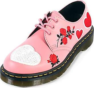 1c87978eab8e9b Versandkosten. Dr. Martens Ladies 1461 Hearts Geranium PINK White Softy T  Leather 3 Eyelet Shoes-