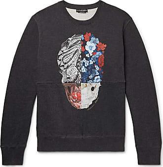 Alexander McQueen Printed Loopback Cotton-jersey Sweatshirt - Charcoal