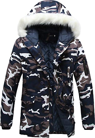 ZongSen Mens Womens Hooded Camouflage Parka Jacket Coats Winter Warmth Thicken Outwear Blue White M