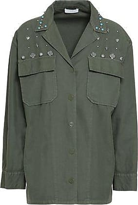 Sandro Sandro Woman Embellished Cotton And Linen-blend Twill Shirt Army Green Size 40