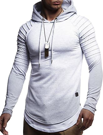 LEIF NELSON Mens Hoodie Pullover Hood Sweater Sweatshirt LN-8155 Grey XX-Large