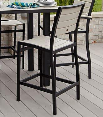 POLYWOOD Outdoor POLYWOOD Euro Bar Height Side Chair Silver Mahogany, Patio Furniture - A102FASMA