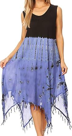 Sakkas 19285 - Lara Womens Casual Fringe Loose Maxi Sleeveless Dress Caftan Cover-up - BlackPeriwinkle - OS