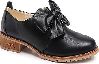 Daytwork Women Leather Shoes - Loafer Flats Womens Bow Oxfords Brogue Comfy Office Low Heel Shoe Black