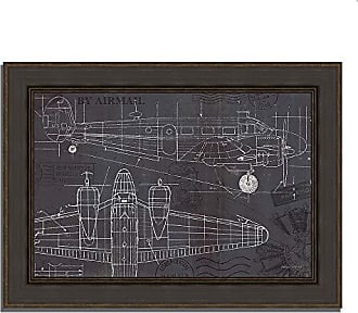 Tangletown Fine Art Plane Blueprint I by Marco Fabiano Framed Art Black, White