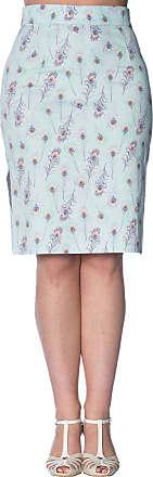 Banned Peacock Vintage Retro Fifties Pencil Skirt - Light Blue/UK-14