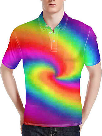 Hugs Idea Mens Regular-Fit Polos Shirts Spiral Colorful T-Shirt Summer Short Sleeve