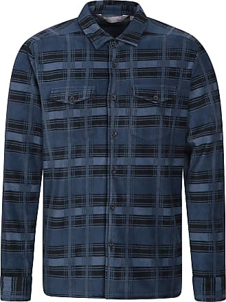 Mountain Warehouse Mens Fleece Shirt - Breathable Top, Antipill Work Shirt, Lightweight Pullover, Quick Drying, Warm Clothing - for Winter Walking, Camping Blue XS