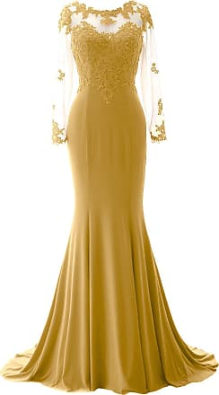 MACloth Women Mermaid Lace Evening Gown Long Sleeves Mother of The Bride Dress (UK20, Gold)