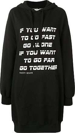 Each Other Go together print hoodie dress - Black