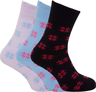 Universal Textiles Ladies/Womens Brushed Inside Thermal Socks, Snowflake Design (Pack of 3) (UK 4-8 EURO 34-38) (Assorted)