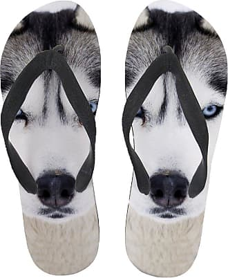 Coloranimal Funny 3D Husky Face Flip Flops for Teenager Girls Home Rubber Slippers EU38
