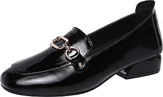 Jamron Womens Fashion Square Toe Chunky Heel Patent Leather Loafers Shoes Black SN02605 UK2.5