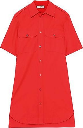 Marni Marni Woman Cotton-poplin Mini Shirt Dress Tomato Red Size 40