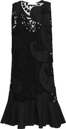 See By Chloé See By Chloé Woman Fluted Twill-trimmed Cotton-blend Guipure Lace Dress Black Size 36