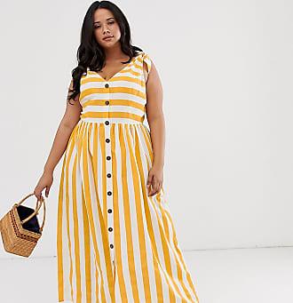 Asos Curve ASOS DESIGN Curve button through smock maxi dress in stripe-Multi