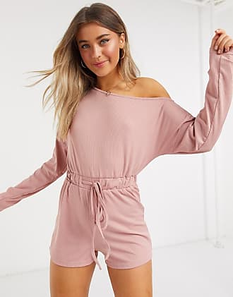 In The Style x Jac Jossa loungewear ribbed off shoulder tie detail playsuit in blush-Pink