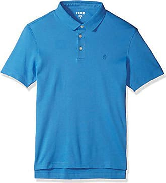 Izod Mens Solid Interlock Polo Shirt, bright blue revival, Medium