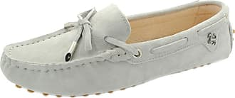 MGM-Joymod Ladies Womens Casual Slip-on Knot Light Grey Suede Leather Walking Driving Loafers Flats Moccasins Hiking Shoes 6.5 M UK