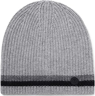 Bogner Matteo Striped Ribbed Cashmere Beanie - Gray