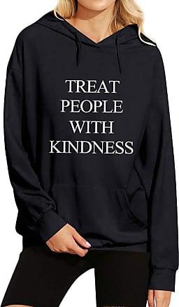 Dresswel Treat People with Kindness Hoodies Women Long Sleeve Pullover Hooded Sweatshirt with Pocket Black