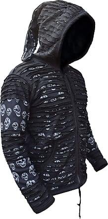 Gheri LITTLE KATHMANDU Mens Skull Printed Razor Cut Black Goth Jacket SummerLBlack Sumer (Non Lined)
