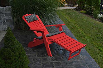 A & L Furniture A & L Furniture Poly Folding/Reclining Adirondack Chair with Pullout Ottoman, Bright Red